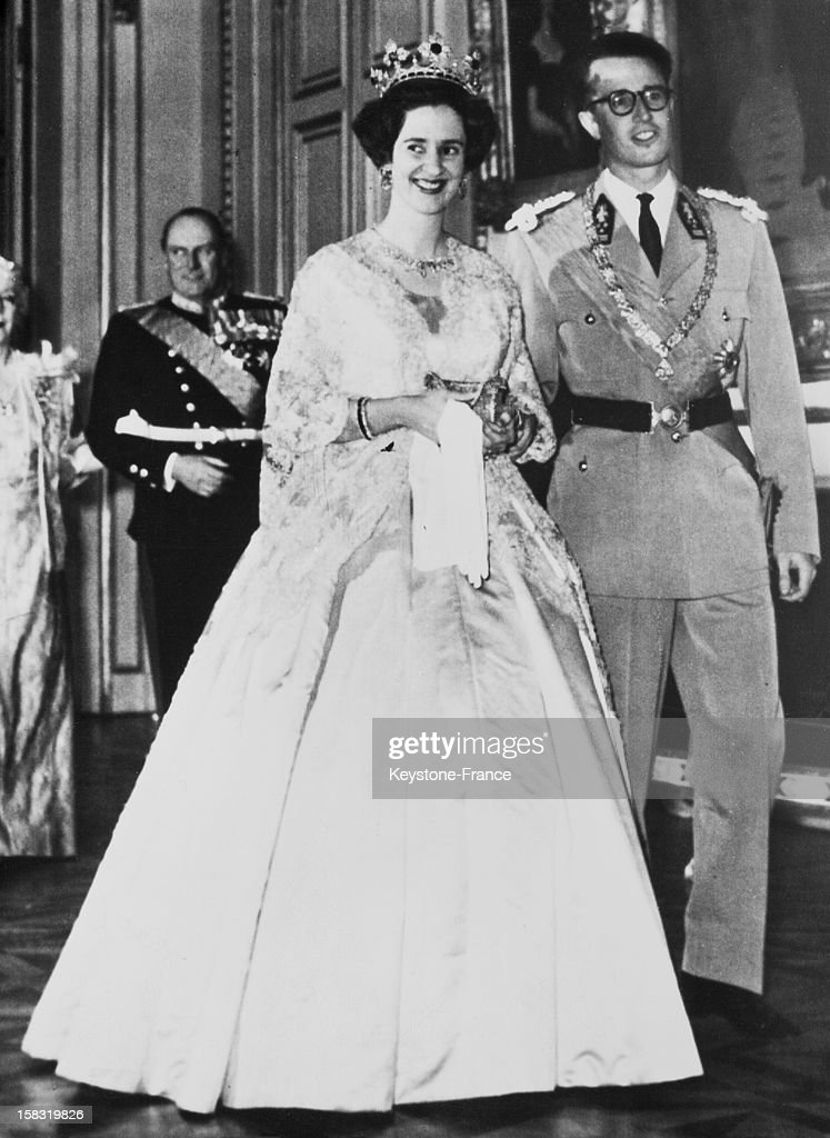King Baudouin and his fiancee Dona Fabiola of Spain arrive at the reception given at the royal palace of Brussels Belgium on December 13 1960