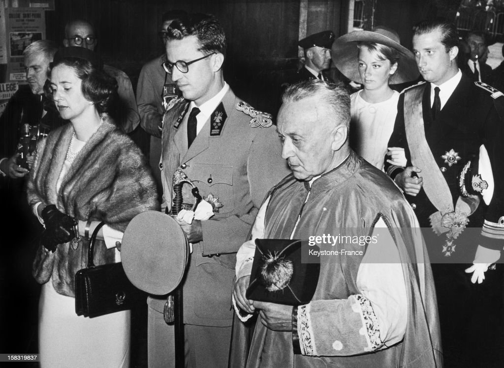 King Baudouin Of Belgium And Queen Fabiola Of Belgium during the Te Deum in St Michael and St Gudula Cathedral for the National Day in Brussels...