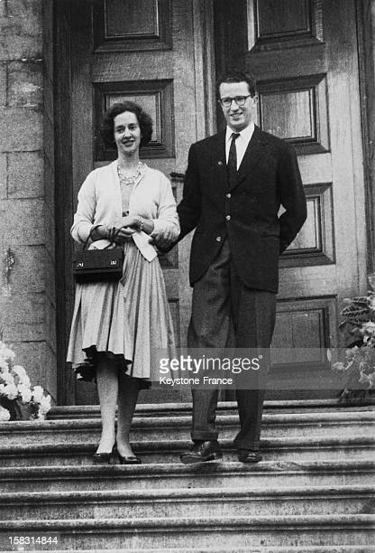 King Baudouin Of Belgium presents his fiancee Dona Fabiola Of Spain to the press in the forecourt of the castle of Ciergnon Belgium on September 17...