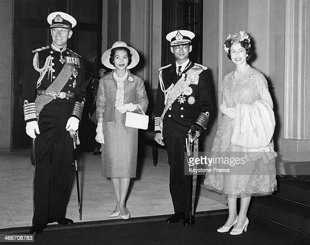 King Bhumibol Adulyadej of Thailand aka Rama IX and wife Queen Sirikit Kitiyakara with Queen Elizabeth II and Prince Philip Duke of Edinburgh at...