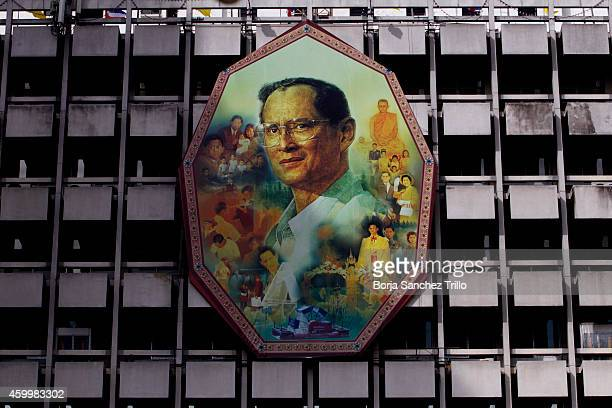 King Bhumibol Adulyadej portrait is seen at Siriraj Hospital on December 5 2014 in Bangkok Thailand Thailand celebrates their King's 87th Birthday as...