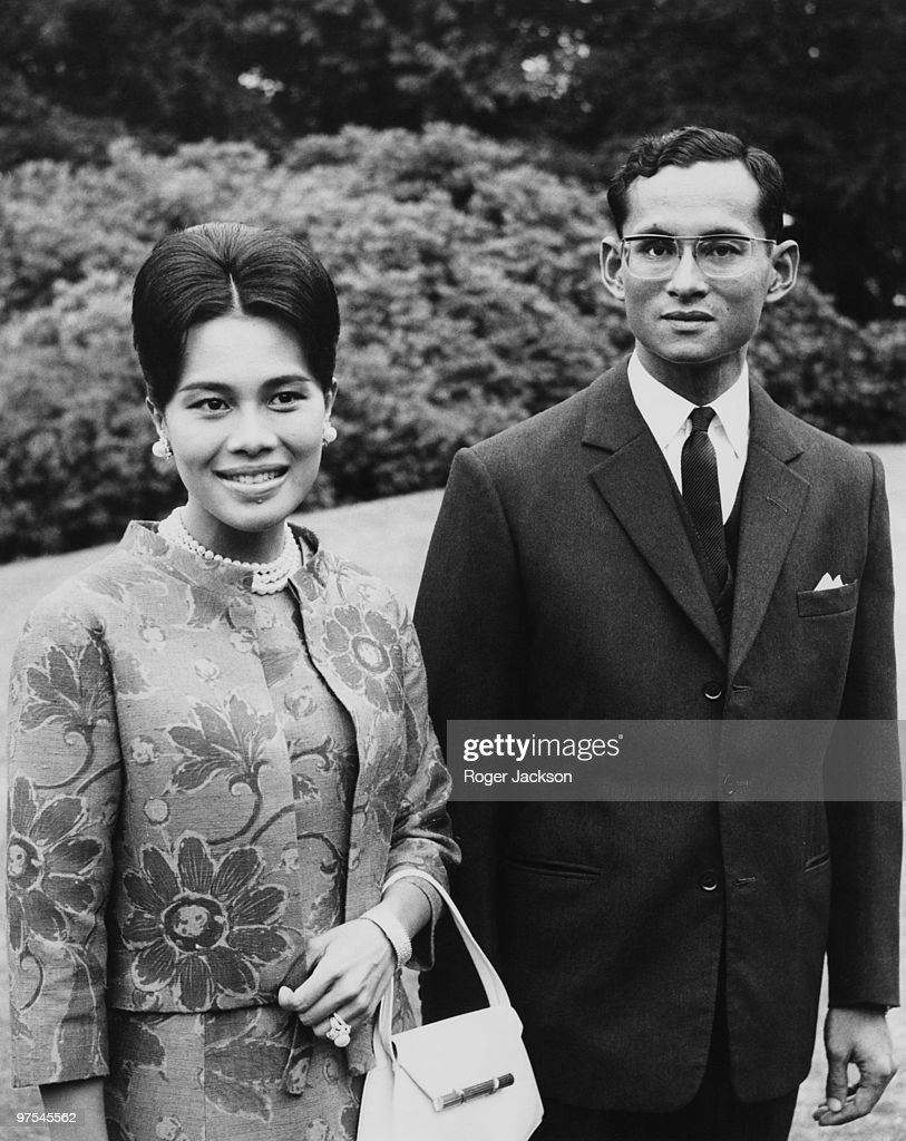 King Bhumibol and Queen <a gi-track='captionPersonalityLinkClicked' href=/galleries/search?phrase=Sirikit&family=editorial&specificpeople=228360 ng-click='$event.stopPropagation()'>Sirikit</a> of Thailand at King's Beeches, their private residence in Sunninghill, Berkshire, 27th July 1966.