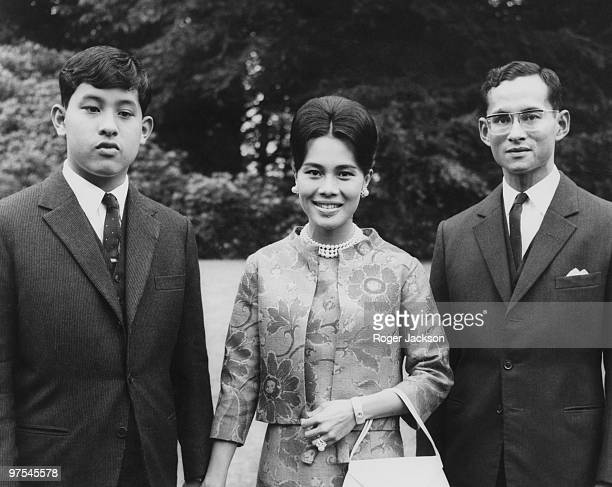 King Bhumibol and Queen Sirikit of Thailand at King's Beeches their private residence in Sunninghill Berkshire 27th July 1966 On the left is their...