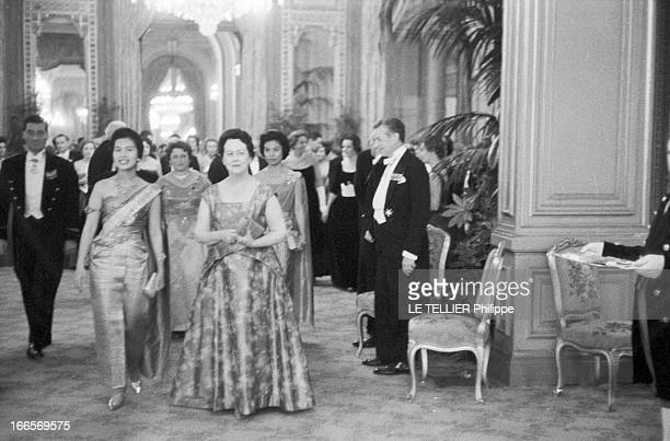 King Bhumibol And Queen Sirikit Of Thailand Official Travel In France Versailles le 22 octobre 1960 la visite officielle du roi Bhumibol de Thailande...