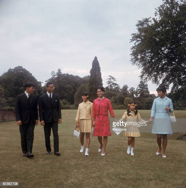 King Bhumibol and Queen Sirikit of Thailand with their children at King's Beeches their private residence in Sunninghill Berkshire 27th July 1966...