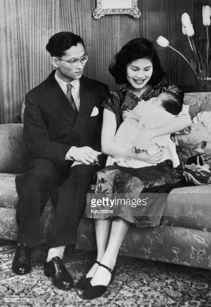 King Bhumibol and Queen Sirikit of Thailand with their new baby daughter Princess Ubol Ratana in Lausanne 2nd May 1951