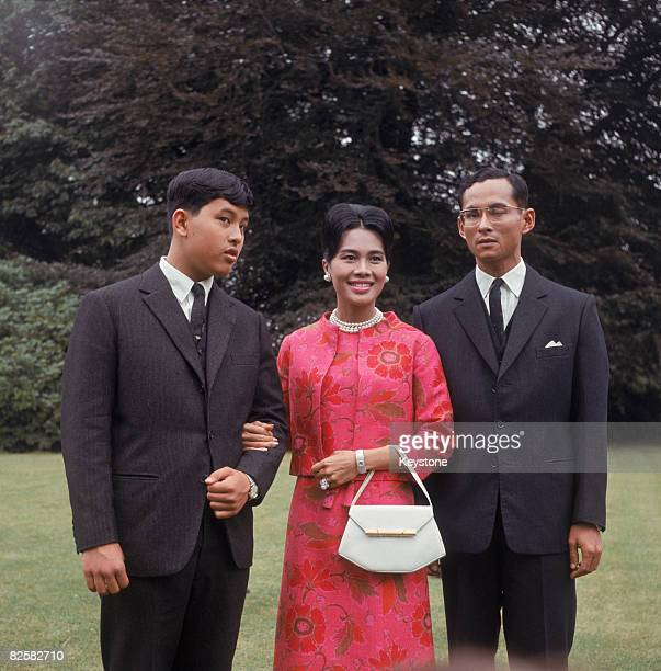King Bhumibol and Queen Sirikit of Thailand with their son Crown Prince Maha Vajiralongkorn at King's Beeches their private residence in Sunninghill...