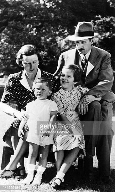 King Boris III of Bulgaria sitting with his wife Giovanna of Savoy and his children Maria Luisa and Simeon in the garden of the Royal Palace in Sofia...