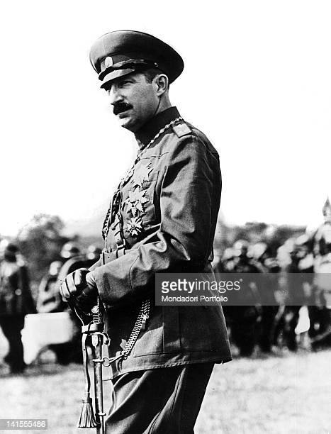 King Boris III of Bulgaria watching a parade that concludes a large operation Bulgaria September 1939