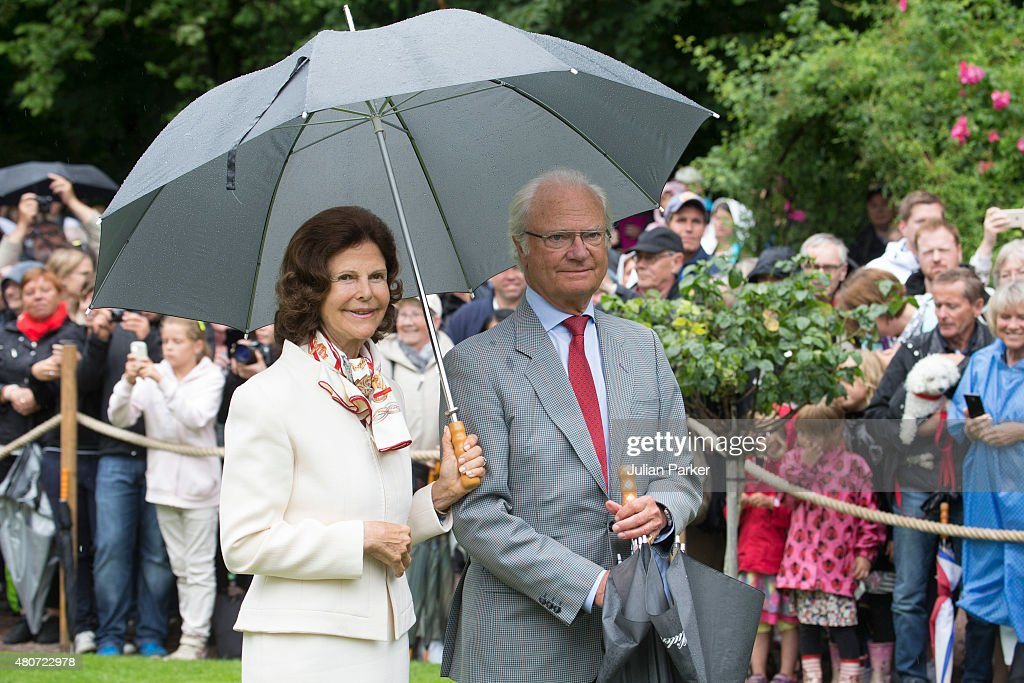 King Car Gustaf of Sweden (R) and Queen Silvia of Sweden, attend the Celebration for Crown Princess Victoria of Sweden's 38th Birthday at Solliden Palace, on July 14th, 2015 in Borgholm, Sweden.