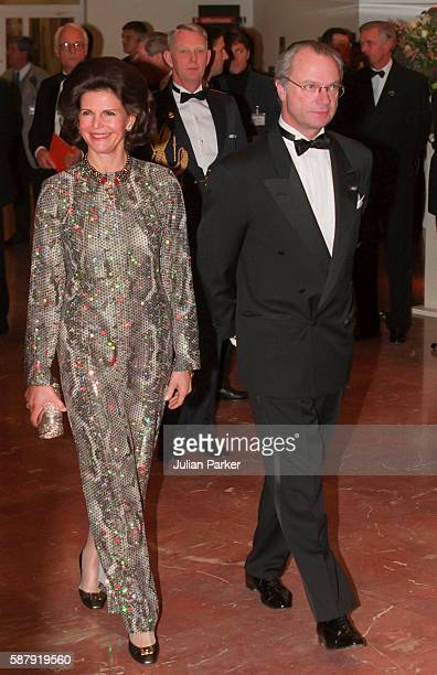 King Carl Gustaf and Queen Silvia of Sweden attend a Ballet performance at The Muziek Theater in Amsterdam as part of The 60th Birthday Celebrations...