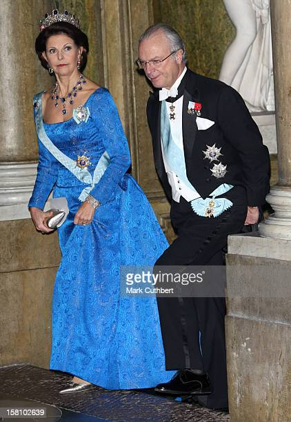 King Carl Gustaf And Queen Silvia Of Sweden Attend A Gala Dinner For The Nobel Laureates At The Royal Palace In Stockholm