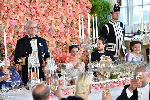 King Carl Gustaf gives a speech during the marriage ceremony for Prince Carl Philip of Sweden and his new wife Princess Sofia of Sweden at The Royal...