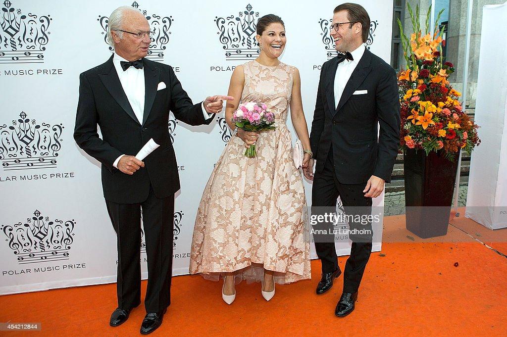 King Carl Gustaf of Sweden and Crown Princess Victoria of Sweden and Prince Daniel attend Polar Music Prize at Stockholm Concert Hall on August 26, 2014 in Stockholm, Sweden.