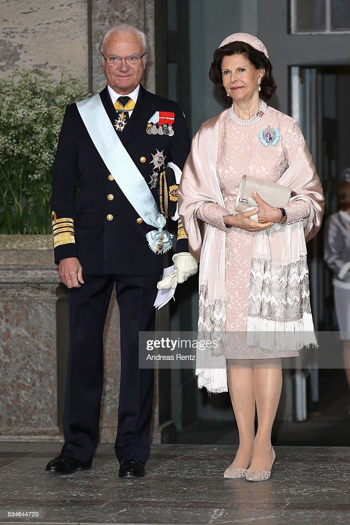 King Carl Gustaf of Sweden and Queen Silvia Of Sweden are seen at Drottningholm Palace for the Christening of Prince Oscar of Sweden on May 27, 2016 in Stockholm, Sweden.
