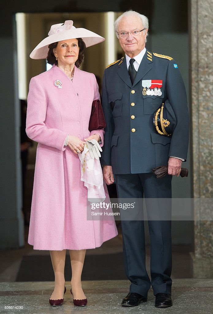 King Carl Gustaf of Sweden and Queen Silvia of Sweden arrive at the Royal Palace to attend Te Deum Thanksgiving Service to celebrate the 70th birthday of King Carl Gustaf of Sweden on April 30, 2016 in Stockholm, Sweden.