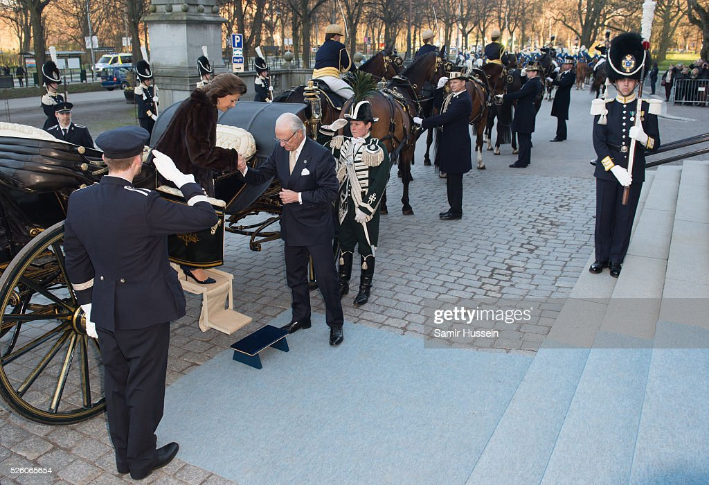 King Carl Gustaf of Sweden and <a gi-track='captionPersonalityLinkClicked' href=/galleries/search?phrase=Queen+Silvia+of+Sweden&family=editorial&specificpeople=160332 ng-click='$event.stopPropagation()'>Queen Silvia of Sweden</a> arrive by carriage to the Nordic Museum to attend a concert of the Royal Swedish Opera and Stockholm Concert Hall to celebrate the 70th birthday of King Carl Gustaf of Sweden on April 29, 2016 in Stockholm, Sweden.