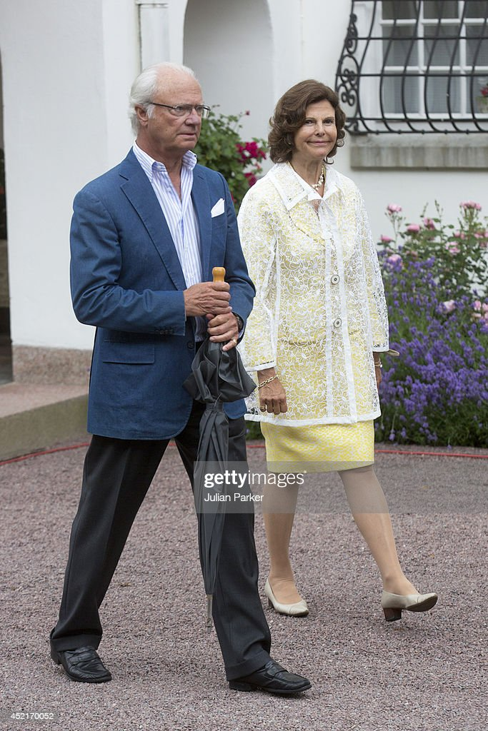 King Carl Gustaf of Sweden and Queen Silvia of Sweden attend the 37th Birthday celebrations of Crown Princess Victoria of Sweden,at Solliden, Borgholm on July 14, 2014 in Oland, Sweden.