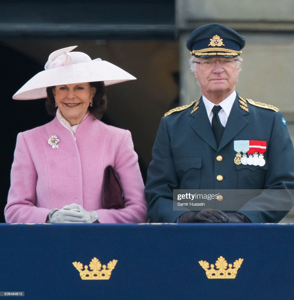 King Carl Gustaf of Sweden and Queen Silvia of Sweden attend the choral tribute and cortege during the celebrations of the 70th birthday of King Carl Gustaf of Sweden on April 30, 2016 in Stockholm, Sweden.