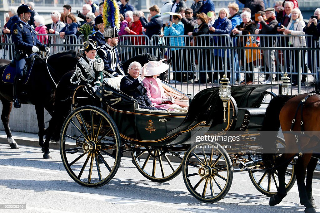 King Carl Gustaf of Sweden and Queen Silvia of Sweden attend the choral tribute and cortege during the celebrations of the 70th birthday of King Carl Gustaf of Sweden on April 30, 2016 in Stockholm, .