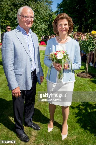 King Carl Gustaf of Sweden and Queen Silvia of Sweden is seen meeting the people gathered in front of Solliden Palace to celebrate the 40th birthday...