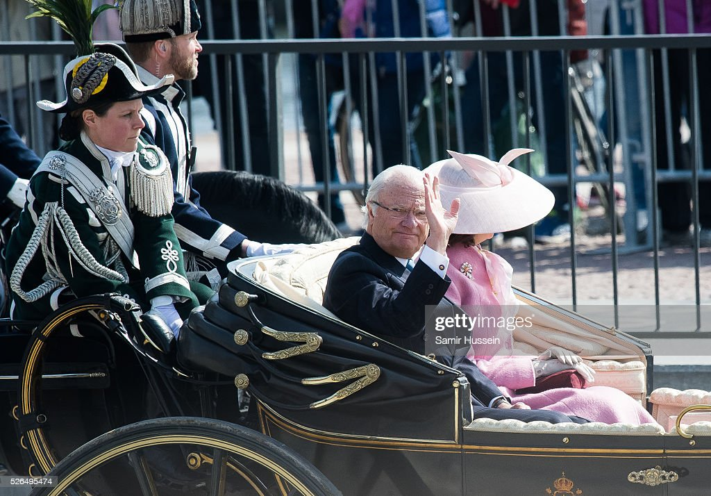 King Carl Gustaf of Sweden and Queen Silvia of Sweden travel by carriage as they attend the choral tribute and cortege during the celebrations of the 70th birthday of King Carl Gustaf of Sweden on April 30, 2016 in Stockholm, Sweden.