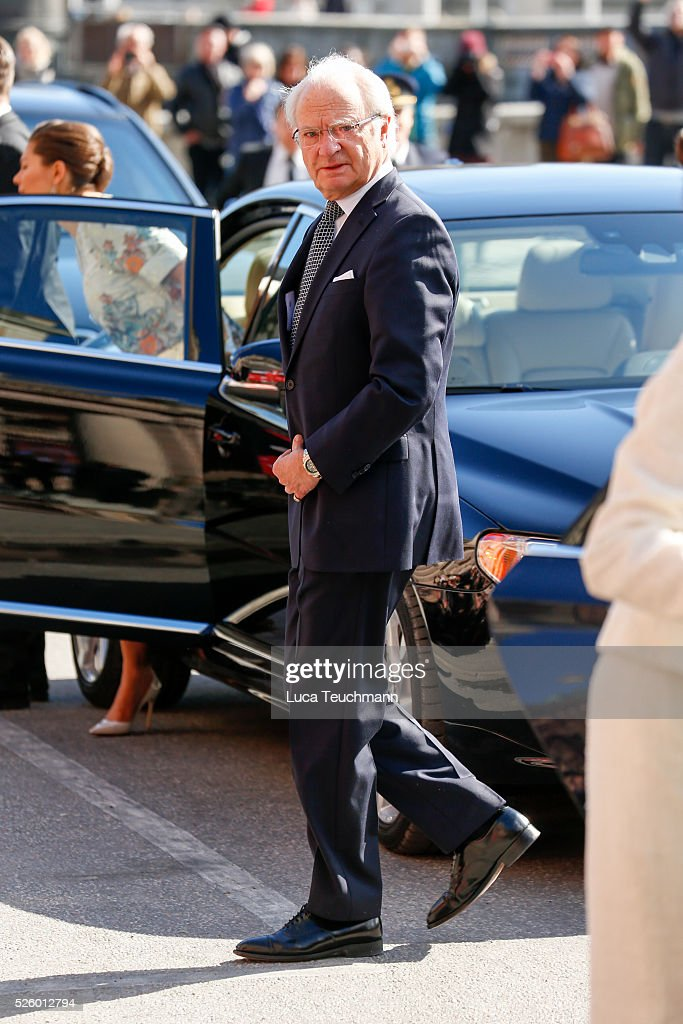 King Carl Gustaf of Sweden attends Royal Artistic Academies Arrivals at the Royal Operaon April 29, 2016 in Stockholm, .