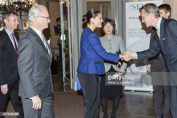 King Carl Gustaf of Sweden Crown Princess Victoria of Sweden and Kerstin Niblaeus Chair of SEI Board and Mans Nilsson Deputy Director and Research...