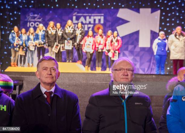 King Carl Gustaf of Sweden during the medal ceremony after the women's cross country relay during the FIS Nordic World Ski Championships on March 2...