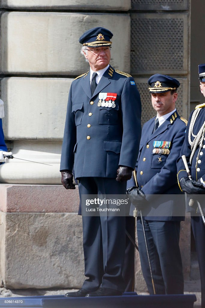 King Carl Gustaf of Sweden is seen at the celebrations of the Swedish Armed Forces for the 70th birthday of King Carl Gustaf of Sweden on April 30, 2016 in Stockholm, .