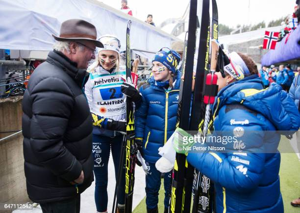 King Carl Gustaf of Sweden meets with silver medalists Stina Nilsson Ebba Andersson Charlotte Kalla and Anna Haag of Sweden during the women's cross...