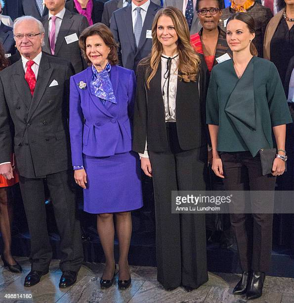 King Carl Gustaf of Sweden Queen Silvia of Sweden Princess Madeleine of Sweden and Princess Sofia of Sweden attend the Global Child Forum at the Hall...