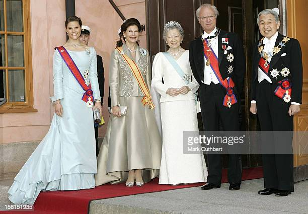 King Carl Gustaf Queen Silvia Crown Princess Victoria Of Sweden With Their Imperial Majesties Emperor Akihito Empress Michiko Of Japan Attend The...
