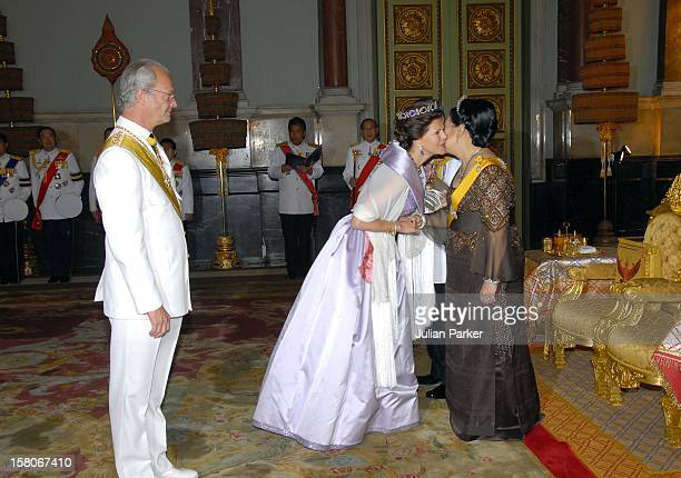 King Carl Gustaf Queen Silvia Of Sweden Attend A Banquet For Foreign Monarchs Royal Guests At The Chakri Maha Prasat Throne Hall Hosted By Thai King...