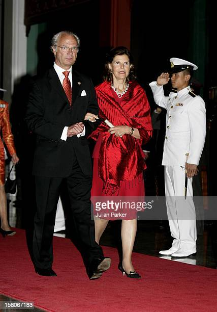 King Carl Gustaf Queen Silvia Of Sweden Attend The Royal Barge Procession At The Royal Navy Club During The Celebrations To Mark The 60Th Anniversary...