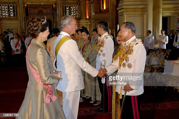 King Carl Gustaf Queen Silvia Of Sweden Foreign Monarchs Express Their Best Wishes To His Majesty At The Anda Samakhom Throne Hall During The...