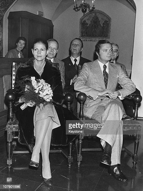 King Carl Gustaf XVI and Queen Silvia of Sweden at the Swedish School in the Rue Mederic Paris 9th November 1976