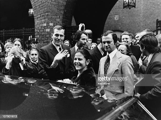 King Carl Gustaf XVI and Queen Silvia of Sweden leaving the Swedish School in the Rue Mederic Paris 9th November 1976