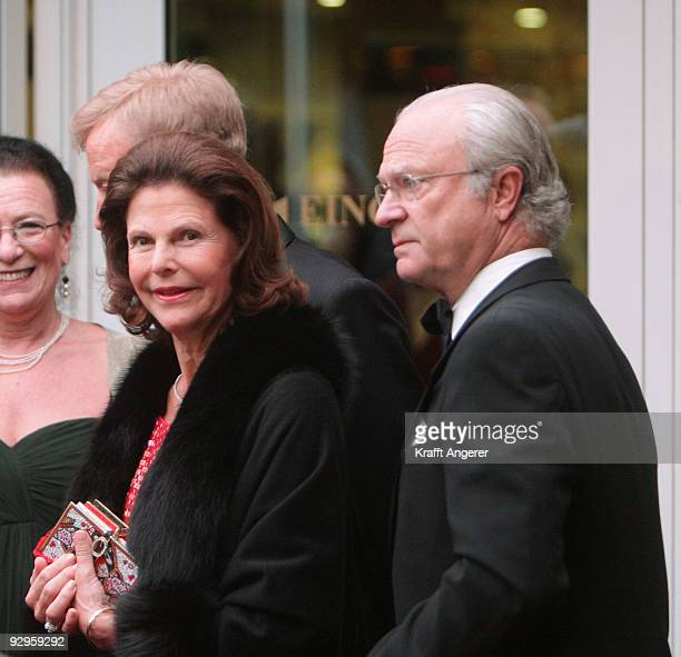 King Carl Gustav and Queen Silvia of Sweden attend the 50th anniversary celebration of the swedish chamber of commerce in Germany on November 10 2009...