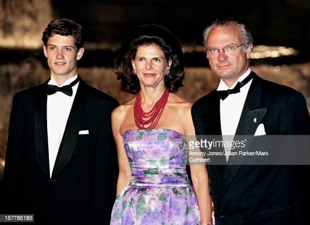 King Carl Gustav Queen Silvia Prince Carl Philip Of Sweden Attend The Gala Dinner At The Ceno Palacio On The Eve Of The Wedding Of Infanta Cristina...