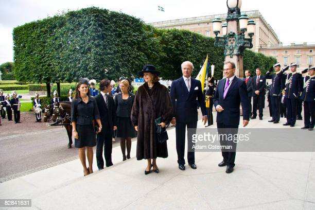 King Carl XVI Gustaf and Queen Silvia of Sweden accompanied by Crown Princess Victoria Prince Carl Philip and Princess Madeleine attend the opening...