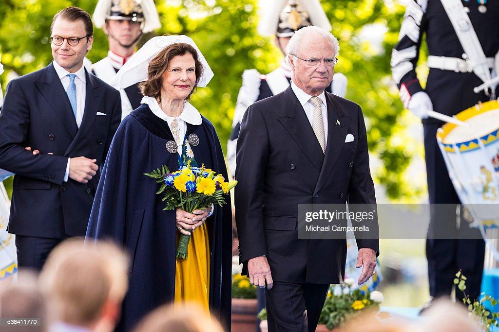 King Carl XVI Gustaf and Queen Silvia of Sweden arrive at a ceremony celebrating Sweden's national day at Skansen on June 6, 2015 in Stockholm, Sweden.
