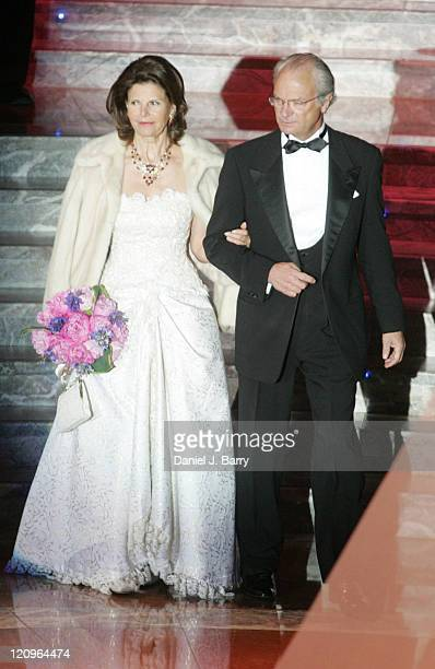 King Carl XVI Gustaf and Queen Silvia of Sweden at a gala dinner for the Volvo Ocean Race on May 11 2006 in New York