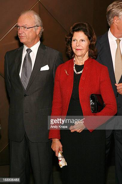M King Carl XVI Gustaf and Queen Silvia of Sweden attend the 5th annual SwedishAmerican Chamber Of Commerce Green Summit From Farm To Fork at Goldman...