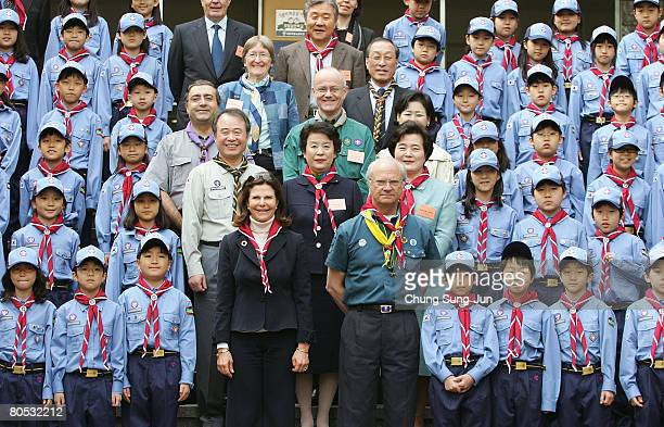 King Carl XVI Gustaf and Queen Silvia of Sweden meet with Boy Scouts at the Soongeui elementary school on April 5 2008 in Seoul South Korea Their...