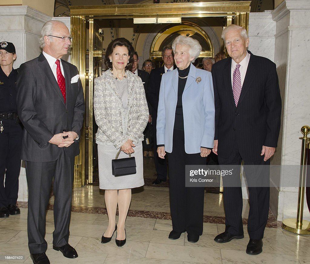 King Carl XVI Gustaf and Queen Silvia Renate visit at Thomas Jefferson Building on May 9, 2013 in Washington, DC.