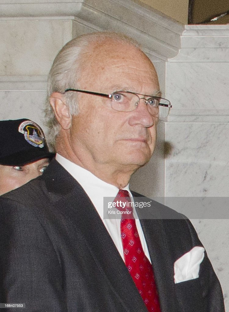 King Carl XVI Gustaf during a visit to the Thomas Jefferson Building on May 9, 2013 in Washington, DC.