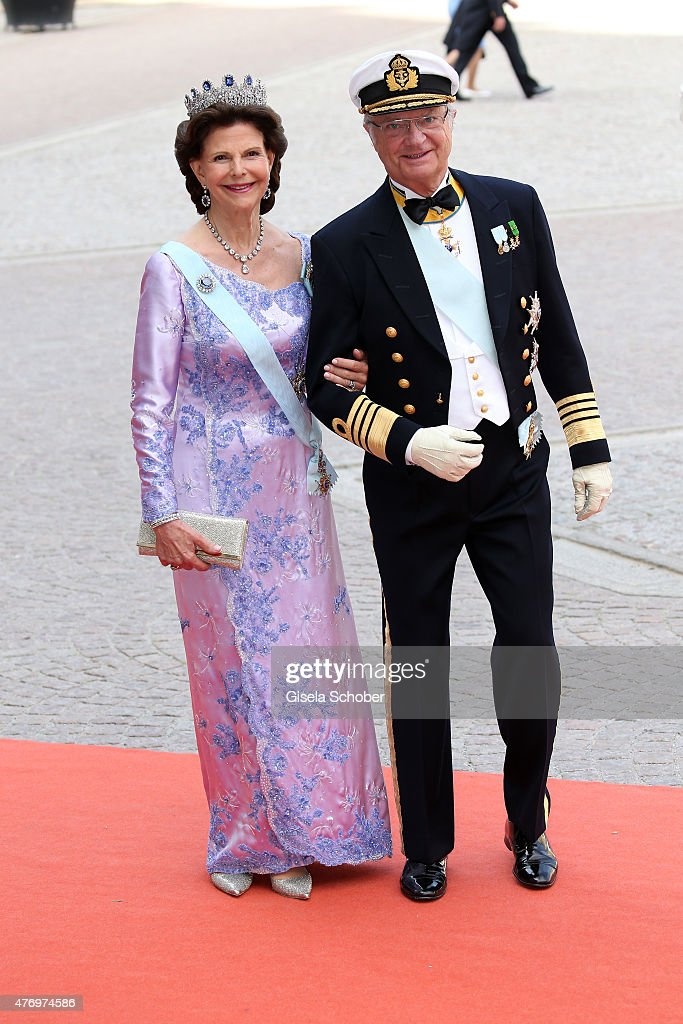 King Carl XVI Gustaf of Sweden and his wife <a gi-track='captionPersonalityLinkClicked' href=/galleries/search?phrase=Queen+Silvia+of+Sweden&family=editorial&specificpeople=160332 ng-click='$event.stopPropagation()'>Queen Silvia of Sweden</a> attend the royal wedding of Prince Carl Philip of Sweden and Sofia Hellqvist at The Royal Palace on June 13, 2015 in Stockholm, Sweden.