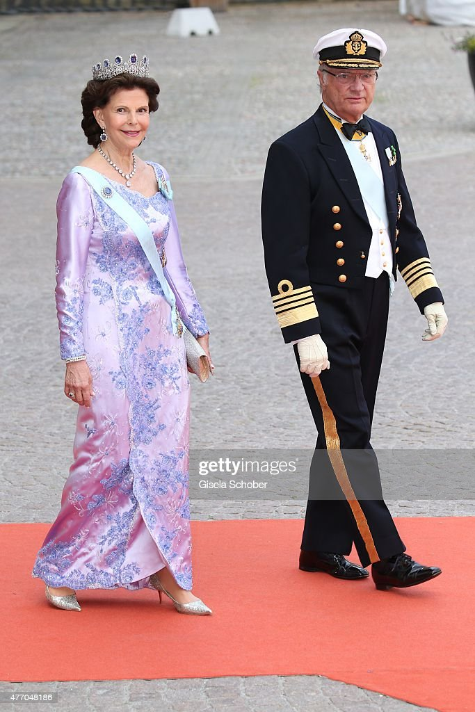 King Carl XVI Gustaf of Sweden and his wife Queen Silvia of Sweden attend the royal wedding of Prince Carl Philip of Sweden and Sofia Hellqvist at The Royal Palace on June 13, 2015 in Stockholm, Sweden.