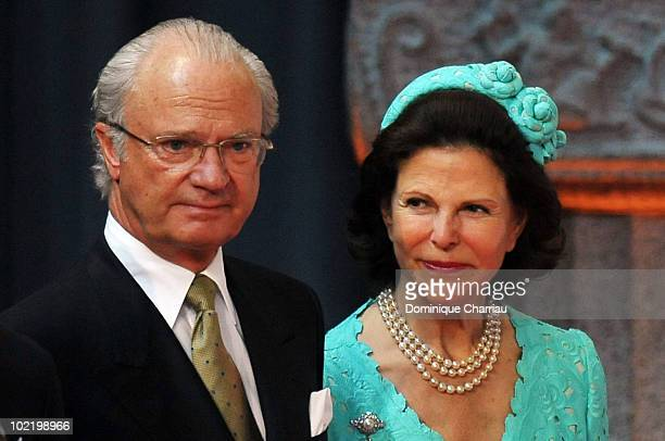 King Carl XVI Gustaf of Sweden and Queen Silvia attend the Government PreWedding Reception for Crown Princess Victoria cand Daniel Westling at...